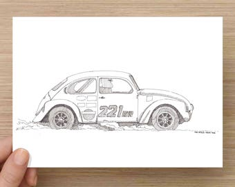 Ink Sketch of Volkswagen Super Beetle - Art, Car, Race, Bug, Coupe, Automobile, Classic, Pen and Ink, 5x7, 8x10