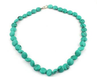 Christmas in July 1 Strand Matrix Turquoise Smooth Briolettes - Plain Coin Beads With Lobster 12mmx13mm 18 Inches SB671