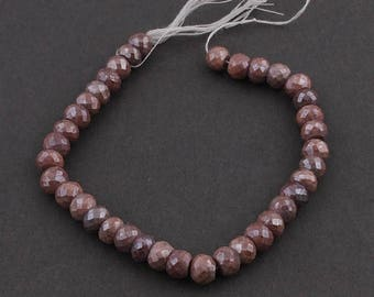 Mega Sale 1 Strand Chocolate Moonstone Silver Coated Faceted Rondelles - Roundle Beads 8mm 8 Inches SB3381
