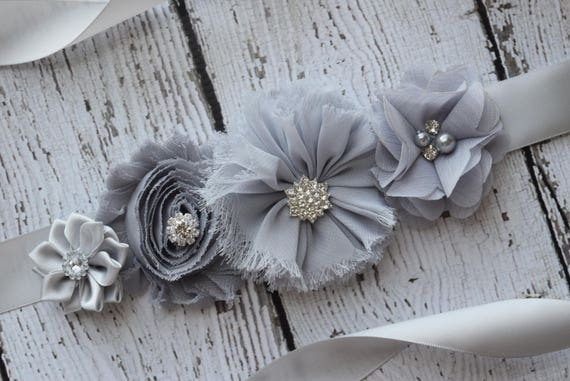 Flower Sash,  grey Sash, #2 , gray sash, flower Belt, maternity sash, wedding sash, maternity sash girl, flower girl sash