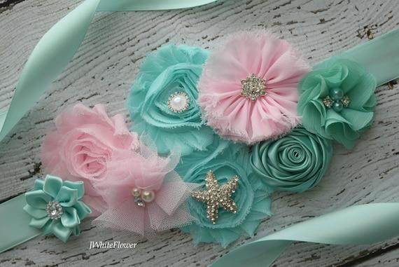 Flower Sash,  Pink aqua beach Sash , flower Belt, maternity sash, wedding sash, maternity sash girl, flower girl sash, gray sash