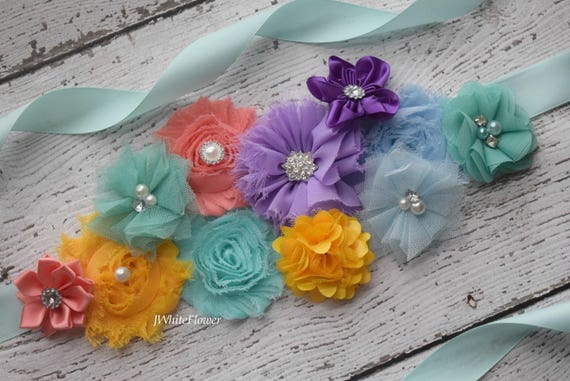 Flower Sash,  yellow coral aqua grape blue Sash , flower Belt, maternity sash, wedding sash, maternity sash girl, flower girl sash