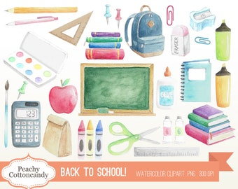 BUY 2 GET 1 FREE Watercolor Back to School Clip Art - stationery school supplies clipart - students illustration - Commercial Use Ok