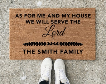 Custom Door Mat, Personalized Doormat, Door Mat, Doormat, Door Mat Personalized, Scripture, As For Me And My House, Christian Gifts