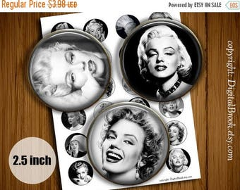 SALE 50% Digital Collage Sheet Marilyn Monroe 2.5inch Printable Circles Download for cupcake toppers Pocket Mirrors Magnets - 203