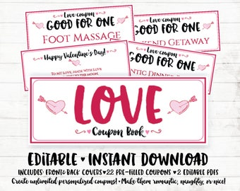 Valentine Printable Coupons Valentines Day Coupon Book Printable Valentines Day Gift Love Coupons Printable Love Coupons for Him DIY Coupons