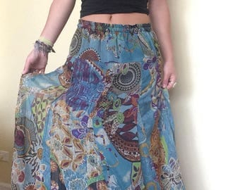 blue shimmery patchwork patterned maxi skirt