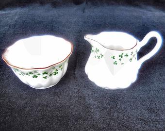 Royal Tara Bone China Scalloped Cream & Sugar with Shamrocks