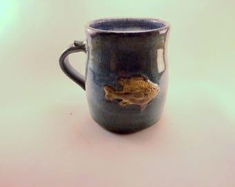 Sunfish Mug with Blue Glaze