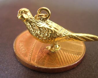 9ct Yellow Gold Pheasant Charm Fully Hallmarked