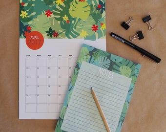 perpetual calendar with peacock pattern + notepad, Birthday calendar, blue, green