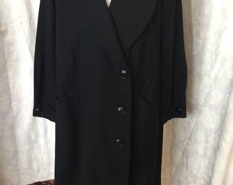 1930s black wool ladies coat