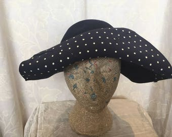 30s navy white polka dot trimmed hat