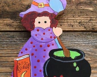 Kitchen Witch with a Cauldron Shelf Sitter