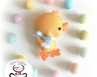 Fluffy Chicken PDF sewing pattern-DIY-Felt chick toy pattern-Baby chick-Nursery decor-chicken ornament-Baby's mobile toy-Cute chick pattern