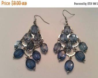SALE Chandelier Earrings Silver Blue Dangle Costume Jewelry