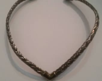 Vintage Mexican Silver Necklace Taxco Choker Tm-33 Mexico Sterling Braided 100 gr
