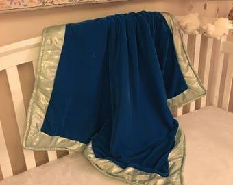 Blue Velvet Baby Blanket and Play Mat