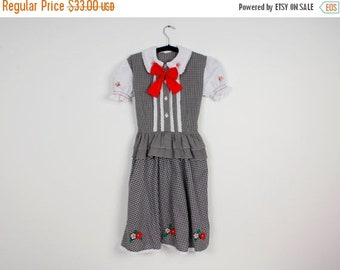 ON SALE Girl Dirndl Dress Checkered Skirt Alpen style Austrian German Bavarian Folk National Costume Oktoberfest Dress Short Sleeve Size 80-