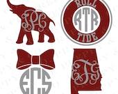 Alabama Vinyl Decal - Monogram Bama Sticker - University of Alabama