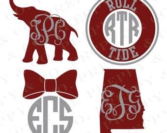 Alabama Vinyl Decal - Monogram Bama Sticker - University of Alabama