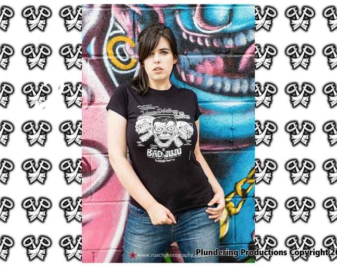 Featured listing image: rockabilly Ladies fit T-shirt black psychobilly biker punk Johnny De'ath & the Skelli - Tones size Small to XLarge by Plundering Productions