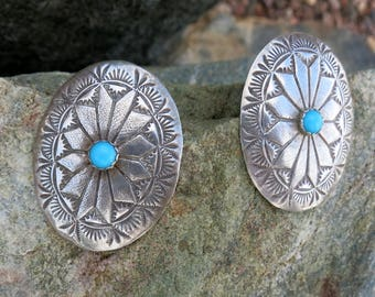 Beautiful Navajo Concho Earrings, Sleeping Beauty Turquoise, Signed, Sterling