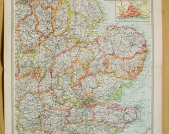 Antique Map : South East England, London, Home Counties, Harmsworth c. 1907. Lovely Pastel Colours SEE DESCRIPTION