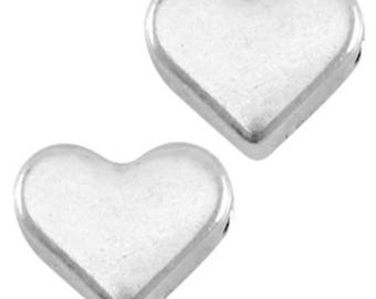 DQ Heart Beads-Zamak-3 pieces-6 mm-Horizontal Reihloch-color selectable (colour: silver)
