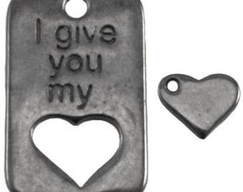 "DQ Metal Pendant-""I give you my""-1 piece-30 x 20 mm-Silver plated or gilded-Zamak (colour: Grey)"