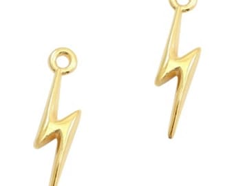 "DQ Metal Pendant ""Blitz""-2 pcs.-19 x 5 mm-Zamak-color selectable (color: Gold)"