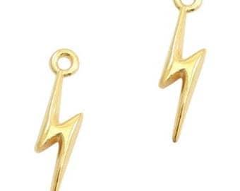 """DQ Metal Pendant """"Blitz""""-2 pcs.-19 x 5 mm-Zamak-color selectable (color: Gold)"""