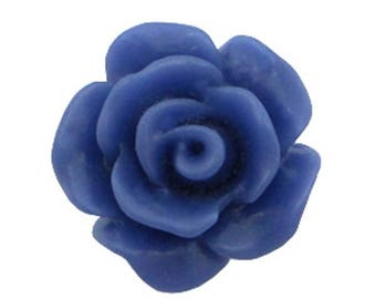Rose beads, acrylic beads, plastic beads-matt-10 pieces-color selectable (color: navy blue)