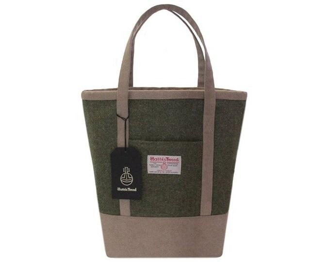 Harris Tweed Large Lovat Green Tote Shoulder Bag with Beige Faux Suede
