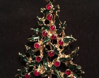 Holly Christmas Tree Brooch / Pin