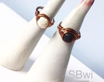 Natural lava diffuser ring in black or white. Tarnish resistant copper wire wrapped band