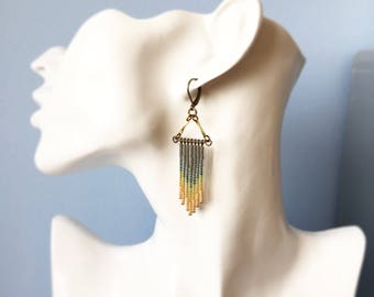 Neutral beaded ombre earrings