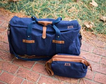 Mens Monogrammed Travel Set   Monogram Duffle   Dopp Kit   Groomsmen Gift   Personalized Gift for Men   Gifts for Travelers   Rhett & Tucker
