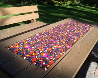Modern Colorful Floral Table Runner From Marimekko Fabric Pieni  Hattarakukka, Narrow Tablecloth Centerpiece Topper,