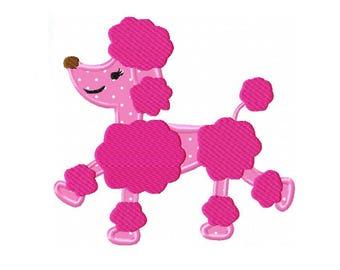 Pink Poodle Applique Machine Embroidery Digital Download