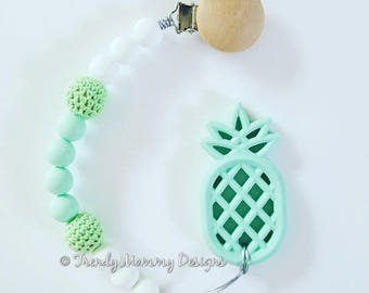 Mint PINEAPPLE Teether with Natural Wood Clip!
