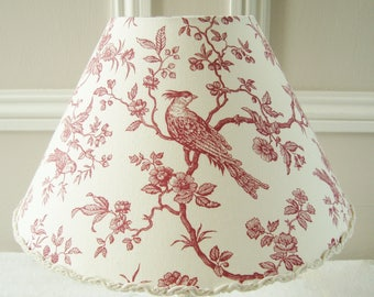 A toile de jouy bird fabric lampshade 16 x 25 cm / 6.2 x 9.8 ins for lamp base handmade in France
