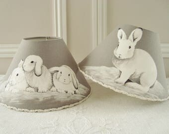 Rabbit lampshade, Rabbit fabric lampshade, French rabbit, Bunny shade, Table lamp, French country, Bedroom, Nursery, Lounge, Gray shade