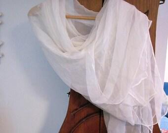 White silk chiffon shawl