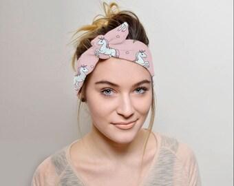 Unicorns Headband Adult, Tie headband, Women Vintage style, tie head band, hair covering, headbands for women, Top Knot Headbands