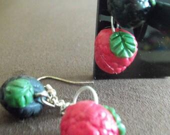 Earrings delicious blackberries and raspberries