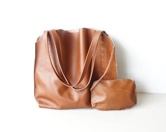 Tan Brown Leather Shoulder Bag / Slouchy Hobo Bag / Buffalo Leather / Unlined