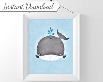 Blue Whale Watercolor, Whale Print, Whale Nursery Art, Boy Nursery Decor, Whale Decor, Cute Whale, Printable Nursery Art, Printable Whale