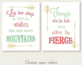 girl nursery print set printable let her sleep for when she wakes, she will move mountains, though she be but little, she is fierce jpg pdf
