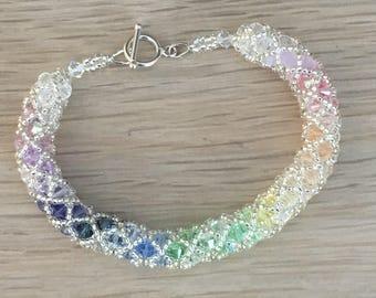 Pastel rainbow Swarovski spiral bracelet